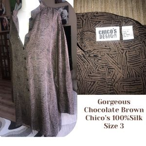 Chico's Gorgeous Chocolate Brown 100% Silk Blouse